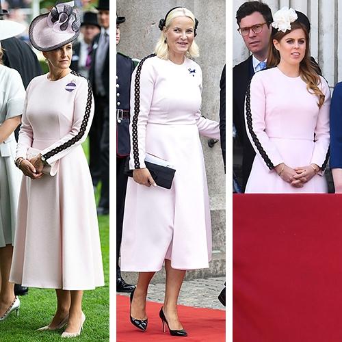 Розовое платье с отделкой чёрным кружевом  от модельера Эмилии Уикстед понравилось трём дамам королевских дворов Британии и Норвегии.