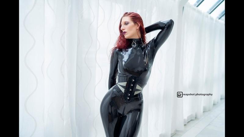 Latex in 4K Black Latex Catsuit Model Part 1