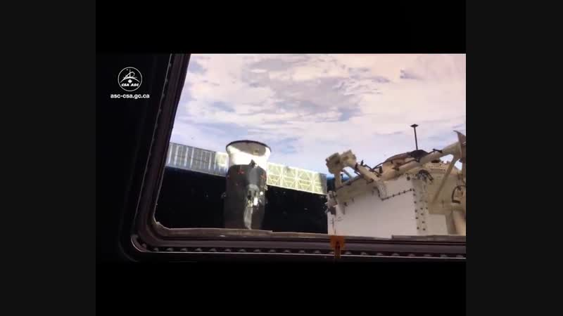View of SpaceX Dragon 1 berthed with @Space Station in the last Cupola opening