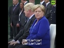 Boris Johnson receives boos shouts of 'liar' 'stop Brexit' during meeting with Merkel