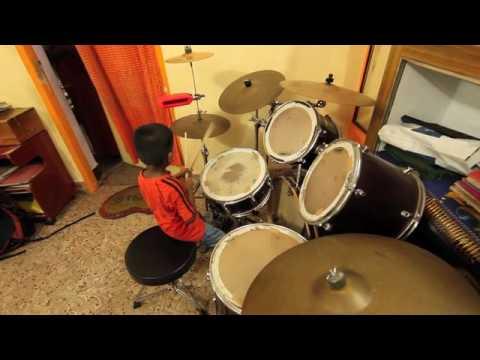 Lydian Nadhaswaran - 4 year old kid at full drum set