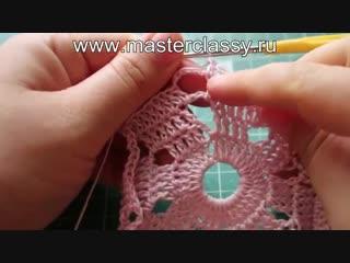 Вязание для начинающих. Очень красивая салфетка за 10 минут крючком_ видео урок