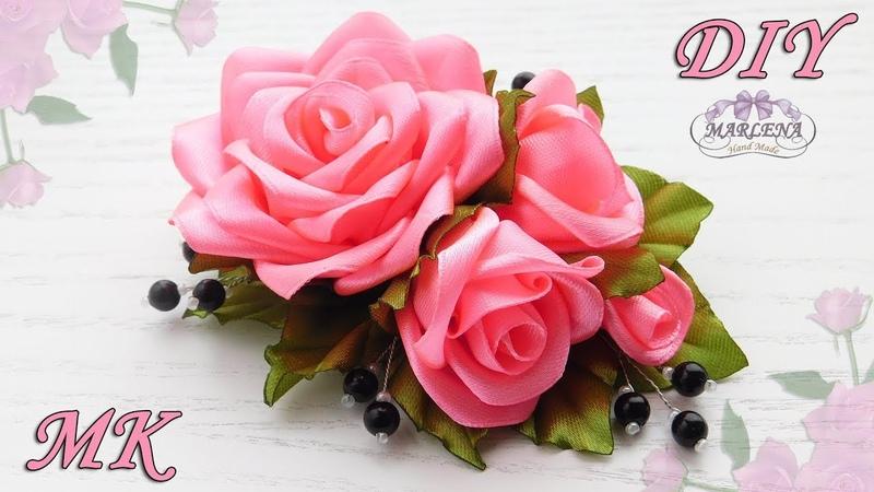 🌹 РОЗЫ ИЗ ЛЕНТ Украшение на заколку гребешок DIY Ribbon Roses