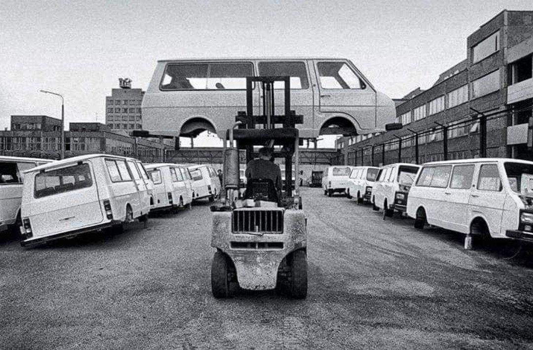 Завод РАФ в Елгаве, Латвия, 1992 год.