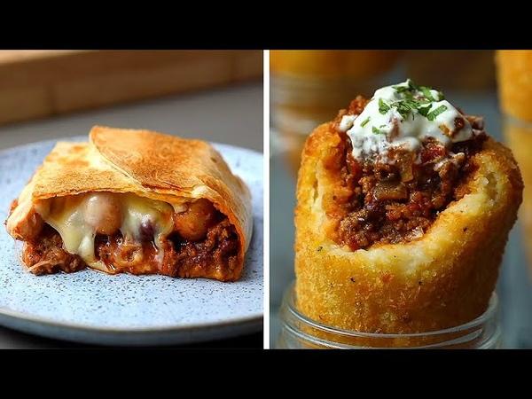 8-мь сырных чили идей на ужин! Сыр: Чеддер, Моцарелла, Пармезан. Гарнир: Спагетти (макароны), картофель, рис. Канал рецептов и готовки: «Twisted».