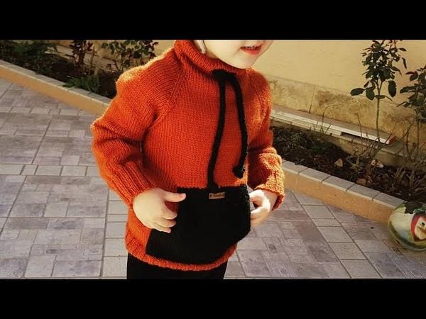 Свитшот худи спицами детский на 3 4 года ЧАСТЬ 2 карман кенгуру и шнурок.
