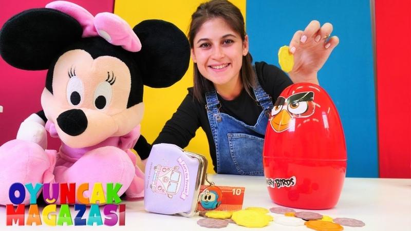 Angry birds oyuncak kumbara. Minnie Mouse ile oyun videosu. Ayşenin oyuncak mağazası
