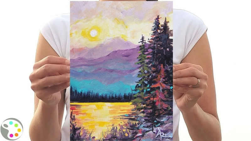 How to Paint with Acrylics | Sunset at the Lake in the Mountains Landscape Tutorial