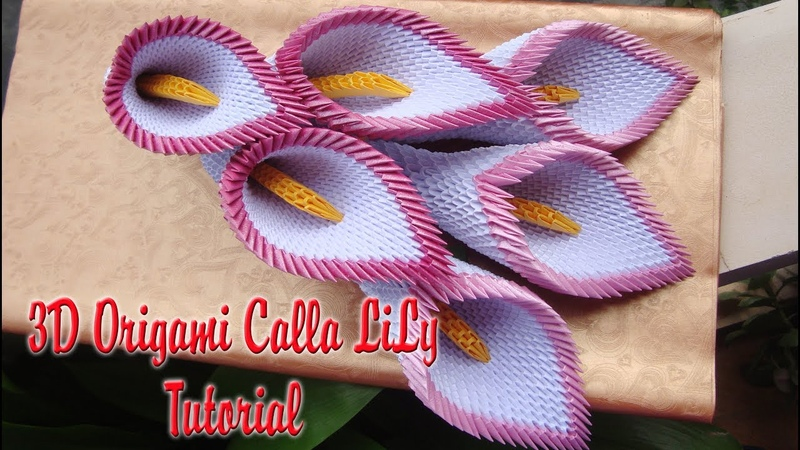 How To Make 3D Origami Calla Lily Flower Cómo hacer 3D Origami Cala Lirio Flor