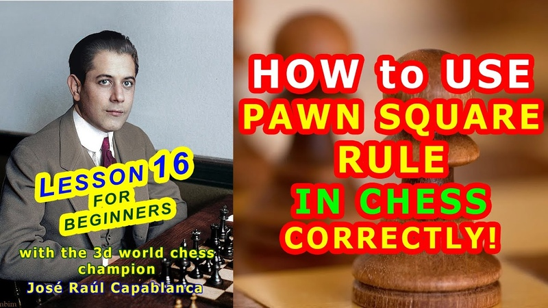 PAWN SQUARE RULE ♔ CHESS LESSONS ♕ TRAINING for beginners tutorial online 16th VIDEO free
