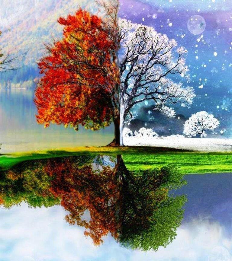 весна и зима на одной картинке рисунок этом эпизоде