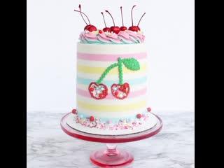 """Яркий красочный декор тортика с вишенками. / наша группа в  """"торты на заказ. мировые шедевры""""."""