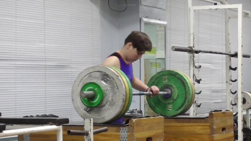 Пряничников Максим 13 лет вк 81 Толчок с плинтов 87 кг Есть личный рекорд