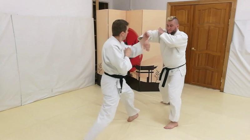 Aikido drill irimi nage and nodo tsuki from two punch