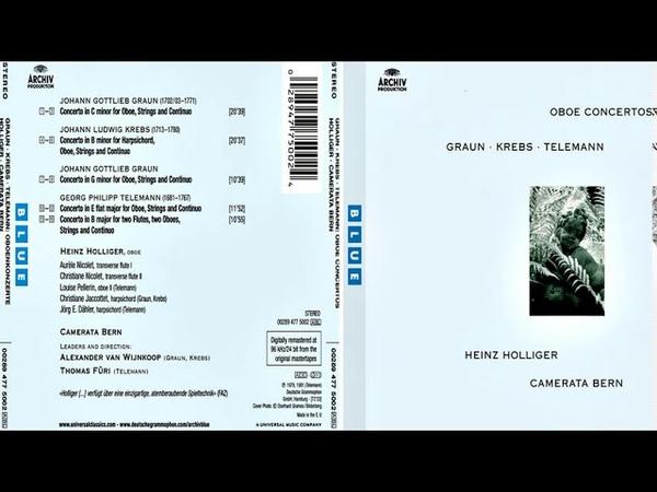 Graun Krebs Telemann Oboe Concertos Camerata Bern Heinz Holliger