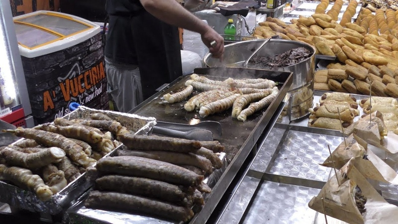 Italy Street Food Sicilian Specialities 'Stigghiola' and Chopped Veal Lung and Spleen