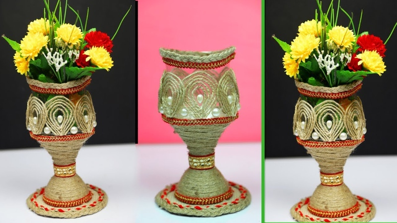How to make a easy flower vase with plastic bottle and jute rope | Home decorating ideas handmade