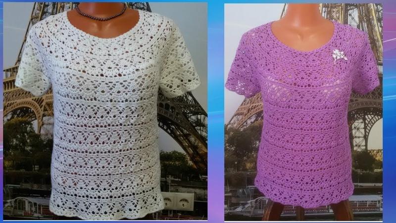 Блузка Японская лилия крючком Часть5 МК для начинающих louse Japanese Lily crochet Часть5