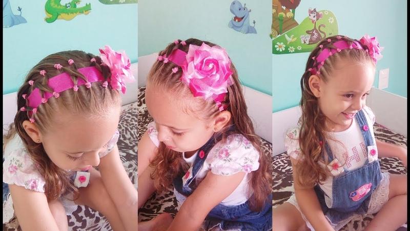 Penteado Infantil tiara com cabelo ligas fita e flor
