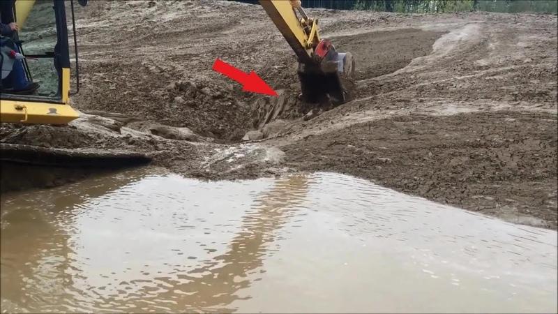 Рабочие заметили, что в грязи шевелится непонятный объект