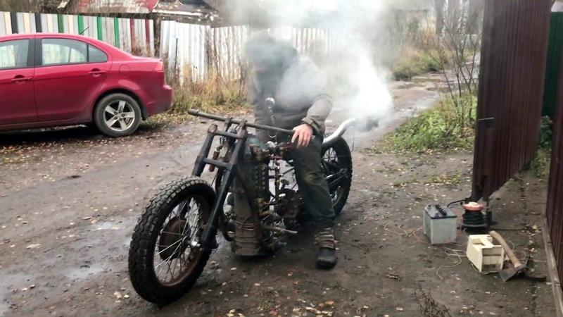 Паровой мотоцикл второй тест. Steam motorcycle second test.