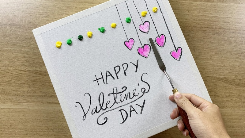 Daily challenge 82 Acrylic Paints Happy Valentine's Day 2020