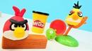 Oyun hamuru ile Angry birds. Eğitici çocuk videosu. Play-Doh