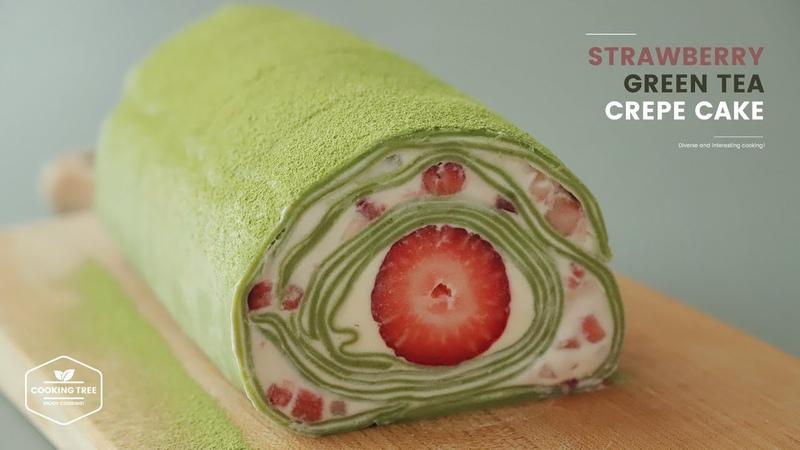 딸기 녹차 크레이프 케이크 만들기 Strawberry Green tea Crepe Cake Recipe Cooking tree