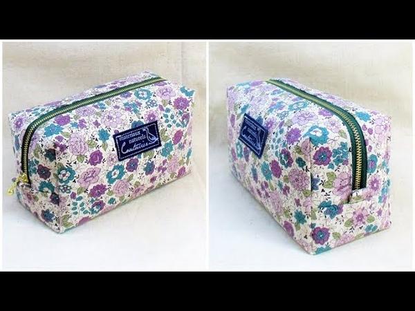 ボックスポーチ作り方 型紙作り方 How to sew a zipper box pouch 裏地付き 縫い代の見えない作り方