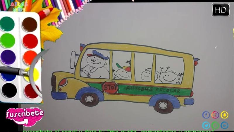 Cómo Dibujar y Colorear Autobus Escolar 2020 🌷 Niños🌷 How To Draw school bus 🌷Kids 🌷 ATLASTUDELA