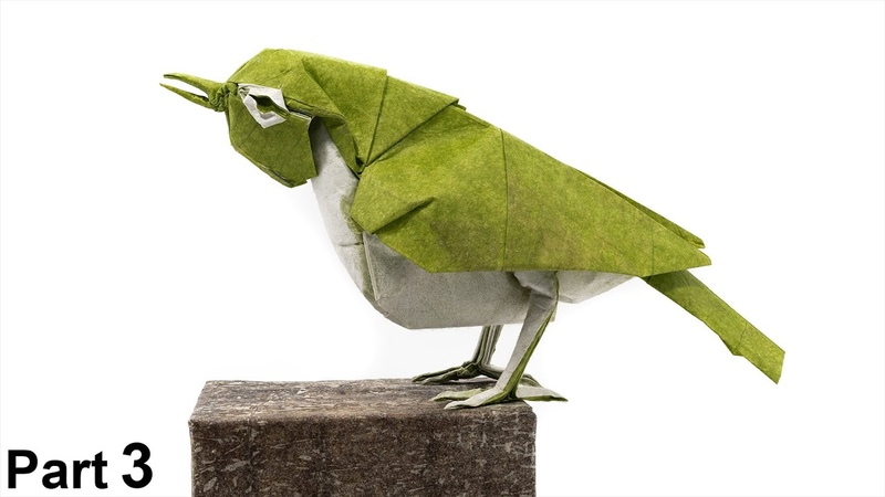 Origami Japanese White-eye tutorial 4K (Satoshi Kamiya) part 3 折り紙 メジロ Mejiro bird