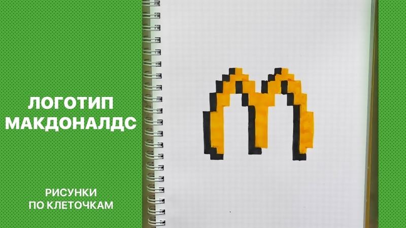 Рисуем логотип Макдоналдс Рисунки по клеточкам для срисовки