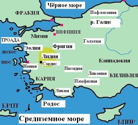Карта древних исторических территорий Турции