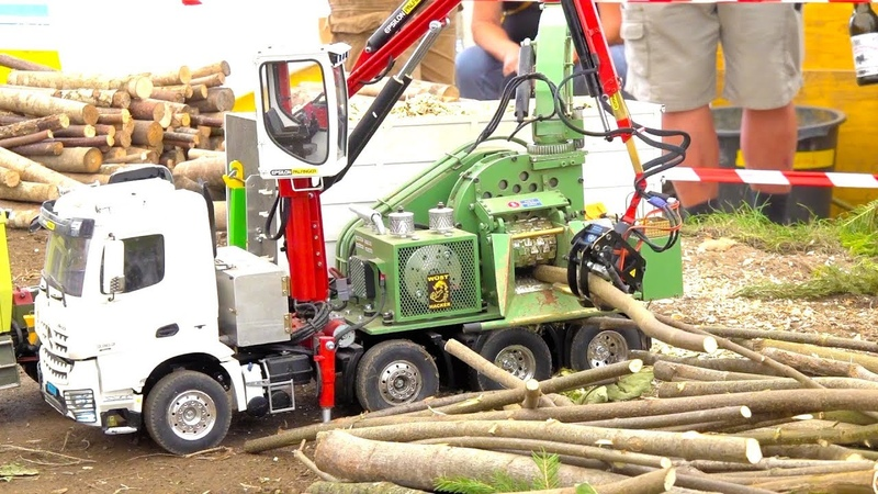 RC TRUCK WOOD CHIPPER SPECIAL HANDMADE MB AROCS FORREST EDITION RC PALFINGER FORREST CRANE