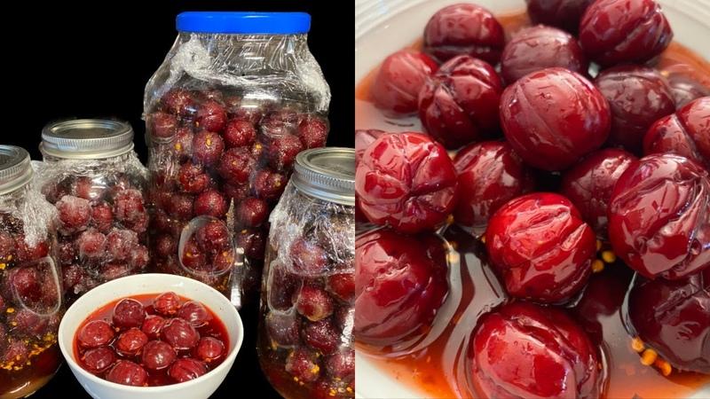 វិធីធ្វើជ្រកផ្លែព្រូន How to Pickle Red Plum or Cherry Plum Khmer Food Cambodian Food