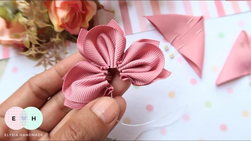Amazing Kanzashi Flower Hand Embroidery Works Ribbon Tricks Easy Making Tutorial 14