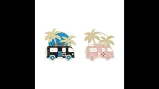 Розовый черный автобус с пляжем и деревом эмаль отворот булавка для дома на колесах значок милый