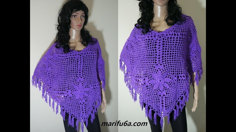 How to crochet lace 4 Square Poncho pattern video tutorial by marifu6a