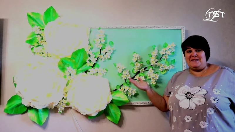 Роза из фоамирана Картина светильник Часть 1 основа Бесплатный МК lamp rose DIY