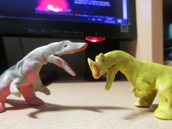 Аллозавр против Цератозавра Мезозойские битвы 5 claymation