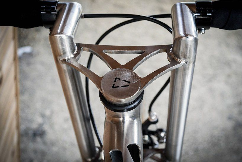 stainless steel erembald bicycle features unique laser-cut pattern
