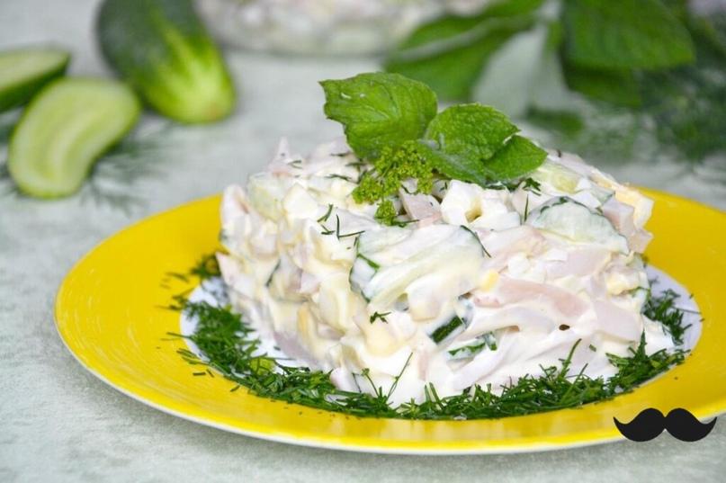 Прелестнейший салат с кальмарами и яйцом