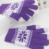 Перчатки женские для сенсорных экранов Снежинка