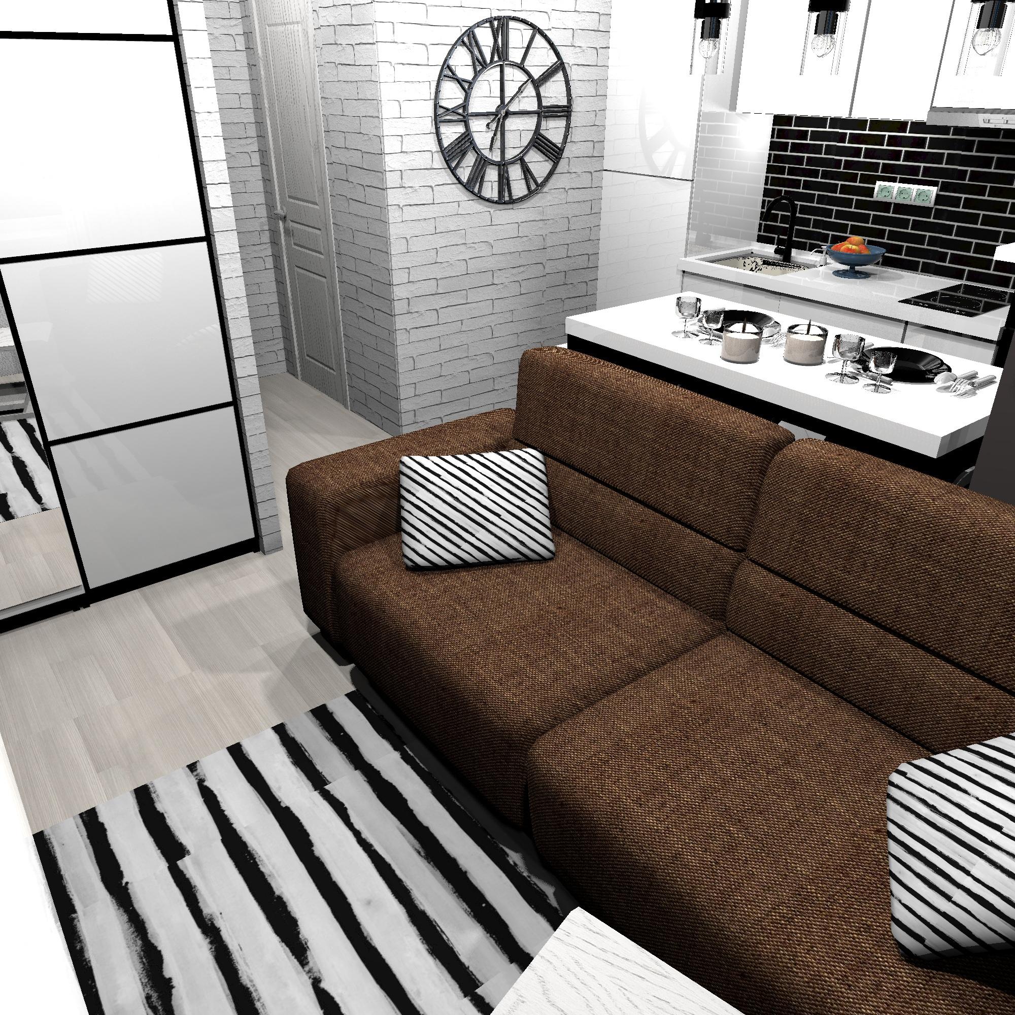 Еще один дизайн-проект маленькой квартиры-студии 23,3 кв.
