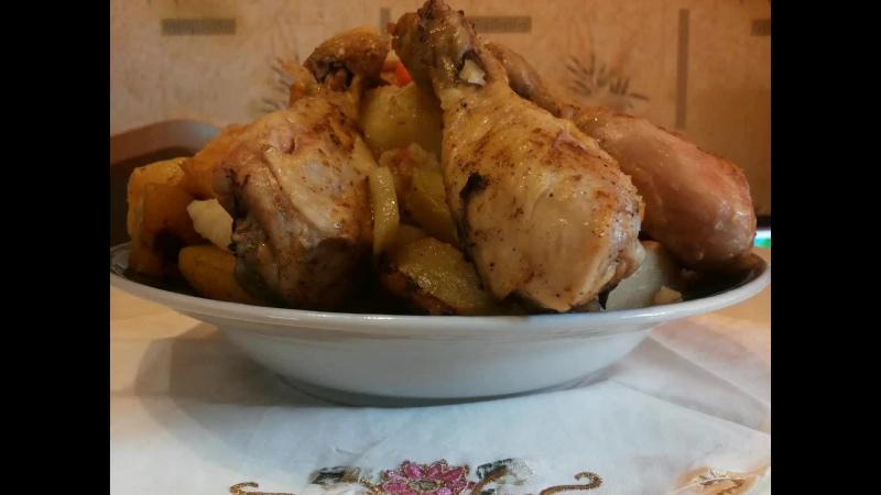 Картошка с курицей запеченная в рукаве