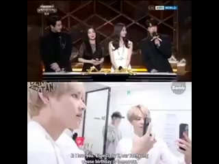 Never forgetting how seokjin said i love you to taehyung on live broadcast and his priceless reaction backstage