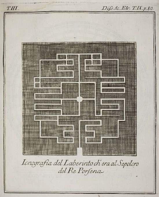 Схема лабиринта располагавшегося под гробницей