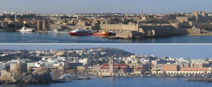 (вверху) Emporium, торговая гавань и вид на старый Родос; (внизу) вход в Мандраки, военную гавань, и вид на современный Родос.