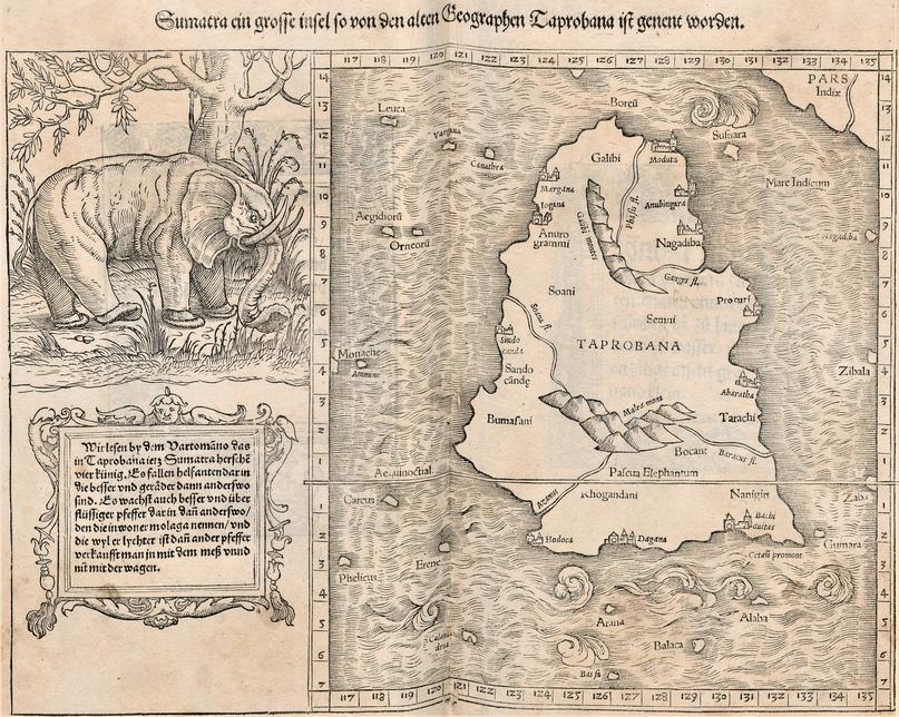 Табробана, она же Суматра. «Космография» Себастиана Мюнстера (1544)