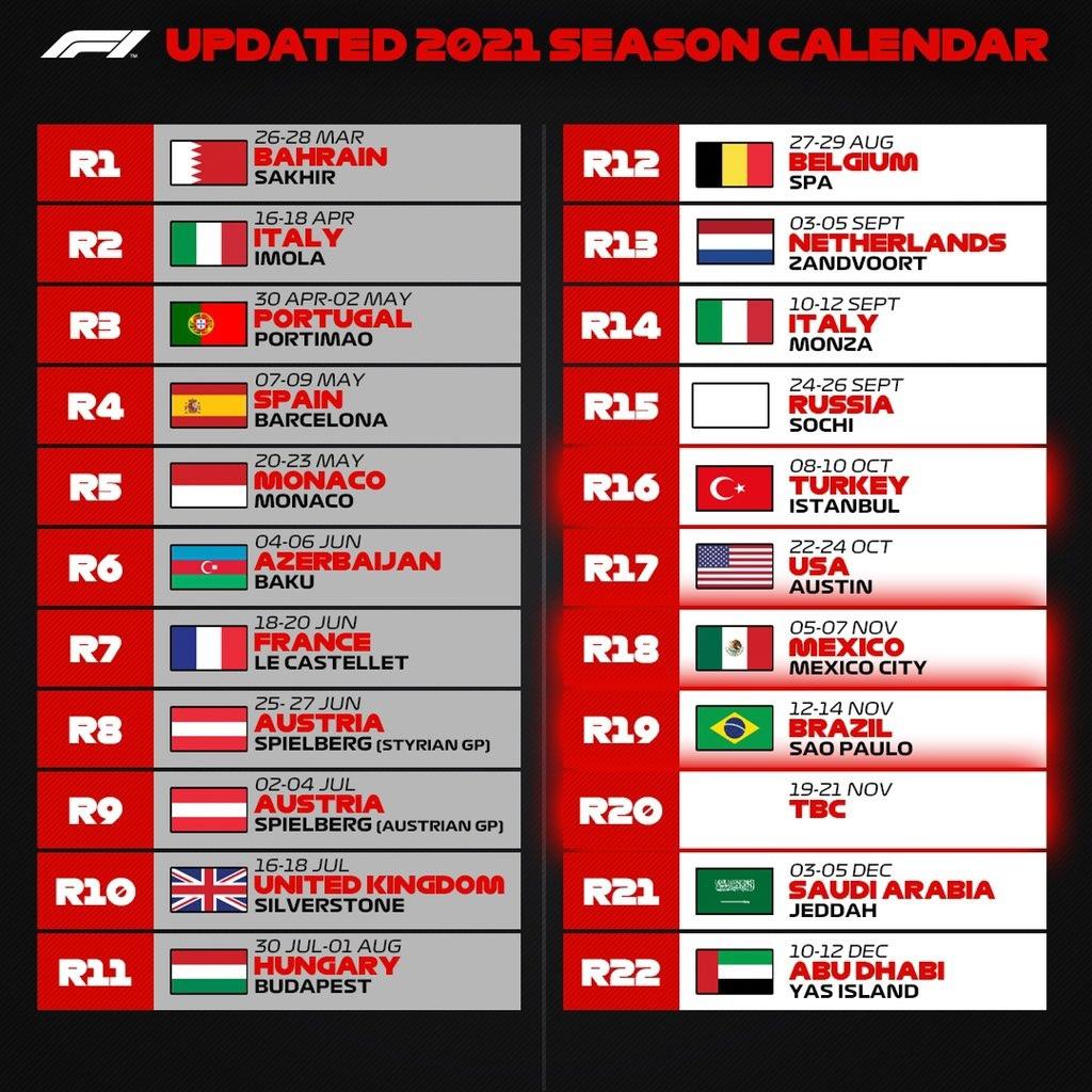 F1 calendar 2021, updated August